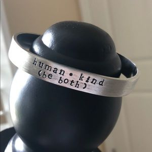 "Jewelry - Hand Stamped Cuff - ""Human • Kind"""